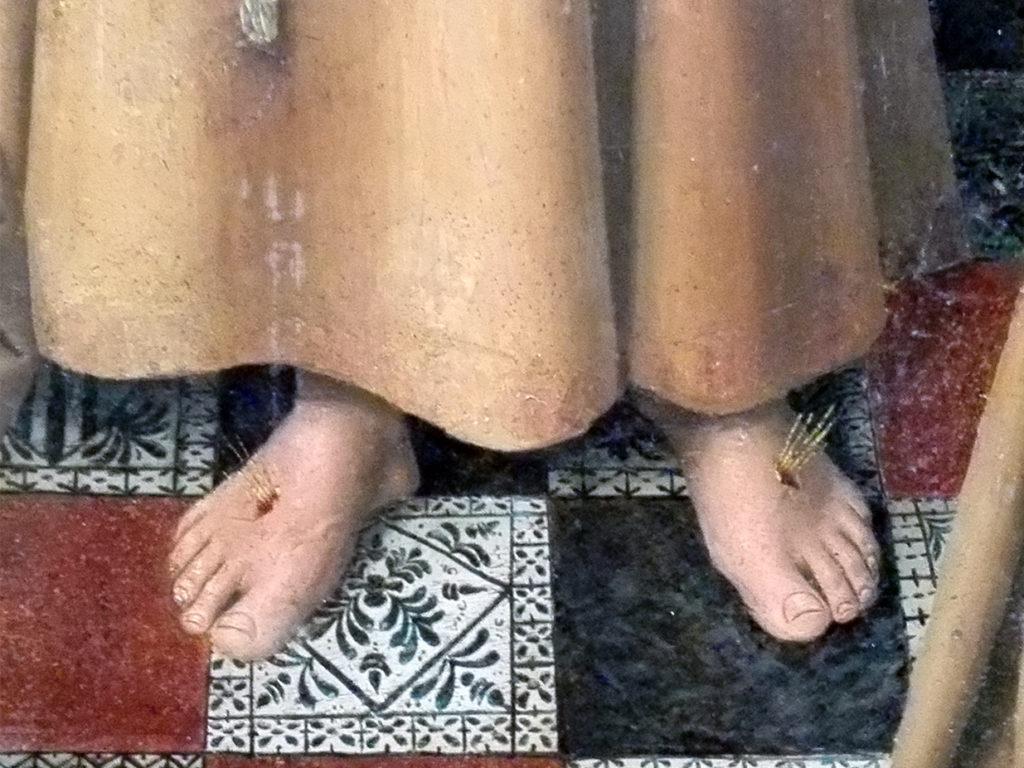 Napoli Aragonese | Colantonio, San Francesco detta la Regola - dettaglio