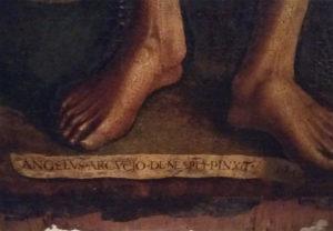 Dettaglio con la firma e la data del San Bartolomeo di Aversa - Immagine gentilmente concessa da Francesco Russo