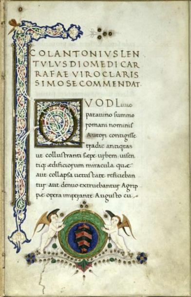 frontespizio delle Raccomandazioni a D. Carafa di Colantonio Lentulo -  Tesoro di S.Gennaro, Napoli