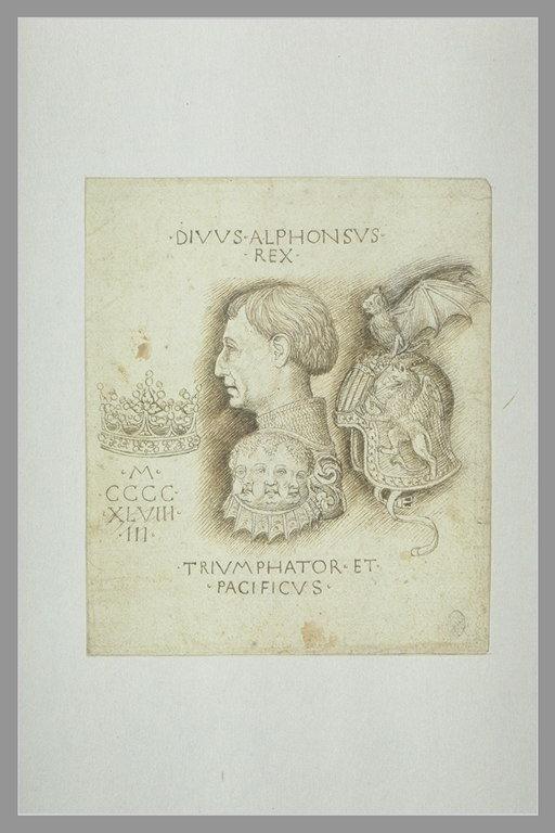 Pisanello - Studio per medaglia con il ritratto di Alfonso d'Aragona