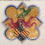 Blasone di Alfonso d'Aragona Re di Napoli, nel f1 della Divina Commedia - MS Thompson 36, British Library