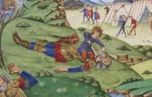 Dettaglio di Davide che taglia la testa a Golia nel Salterio di Ferdinando I