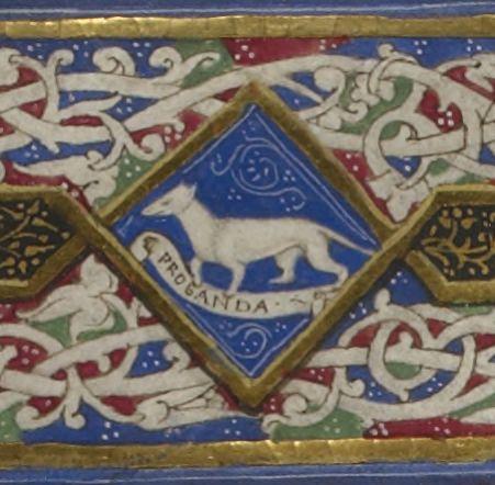 """Ermellino miniato nel manoscritto """"Obiurgatio in calumniatorem divini Platonis"""" di Andrea Contrario"""